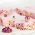 Homemade Rosewater Nougat with Pistachios & Cranberries