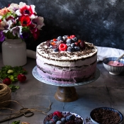 Vegan Τούρτα με Φρούτα του Δάσους - Vegan Berry Ombre Cake