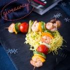 Shrimp & Veggie Skewers with Noodles