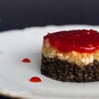 Beluga Lentils with Smoked Aubergines & Red Chili Chutney