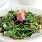 Spinach, Arugula & Prosciutto Salad with Smoked Cheese & Olive Spoon Sweet