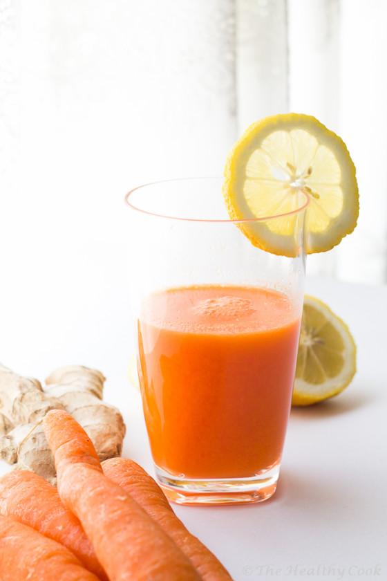 Γευστικότατος και πολύ υγιεινός χυμός καρότου με λεμόνι και τζίντζερ - Very tasty and healthy carrot juice with lemon and ginger