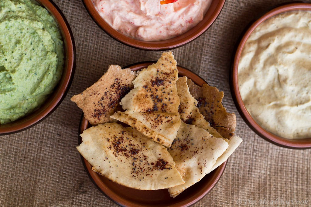 5 Healthy Dips - Arabic bread chips