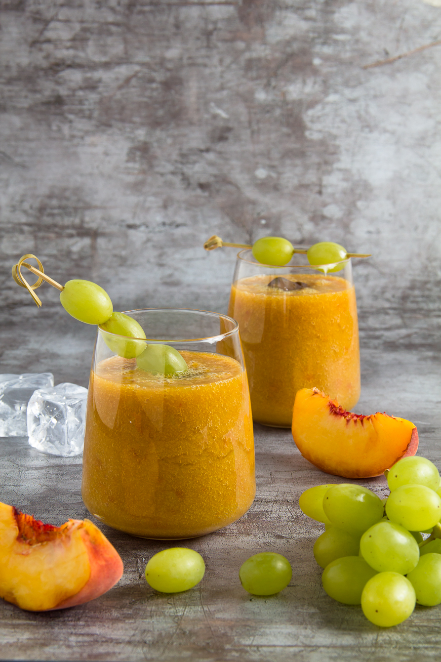 green tea, peaches and grapes in a smoothie