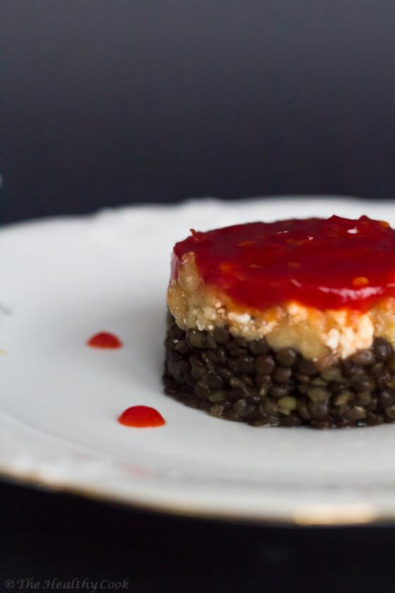 Beluga Lentils with Smoked Aubergines & Red Chili Chutney – Μαύρες Φακές με Καπνιστή Μελιτζάνα και Μαρμελάδα Τσίλι