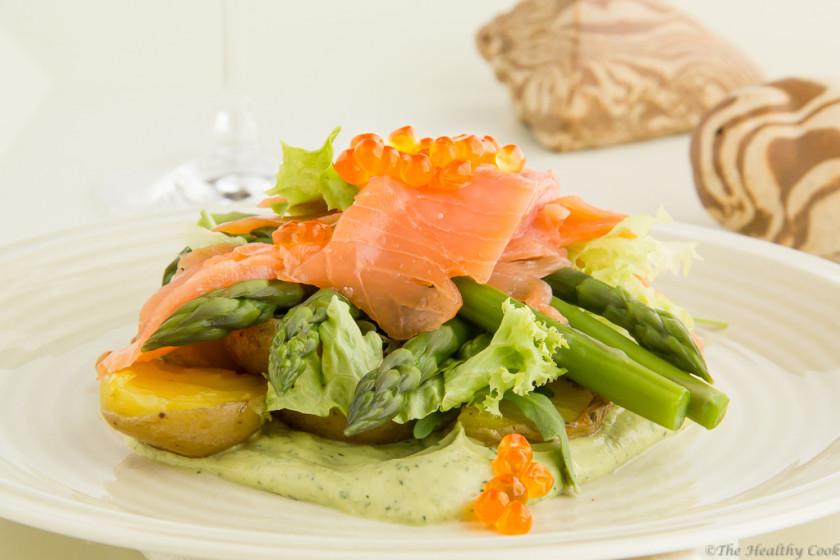 #salad, #asparagus, #salmon, #avocado
