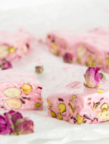 Homemade Rosewater Nougat with Pistachios & Cranberries – Σπιτικό Μαντολάτο με Ροδόνερο, Φιστίκια Αιγίνης & Κράνμπερις