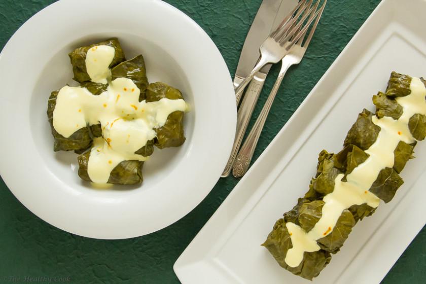 Stuffed Vine Leaves (Dolmadakia) with Crabmeat & Rice – Ντολμαδάκια με Καβούρι