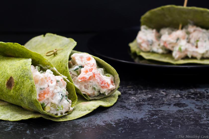 Kale Wraps with Shrimp & Tarragon Salad – Σαλάτα με Γαρίδες & Εστραγκόν σε Πίτες από Κέιλ