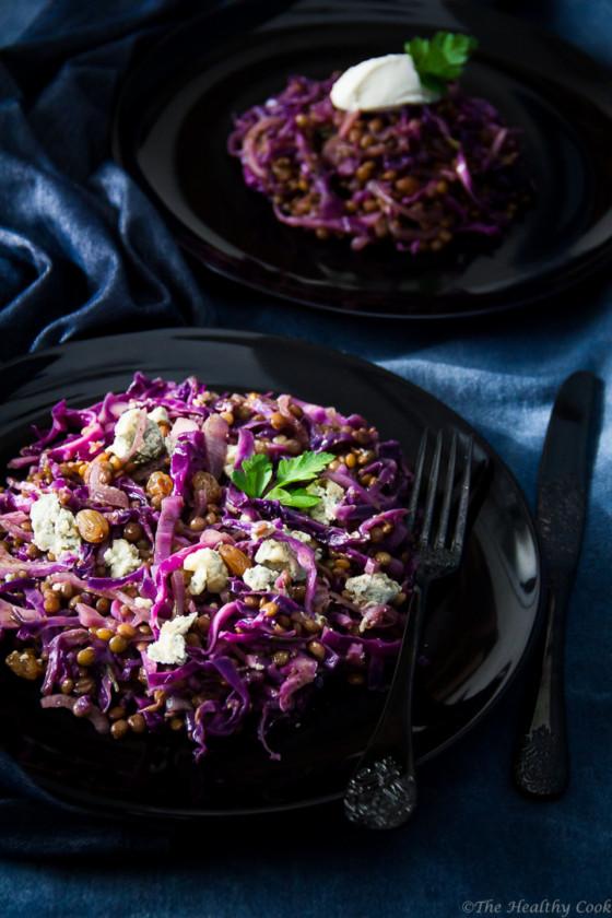 Lentils-Red-Cabbage-Stilton-Salad – Σαλάτα-Φακές-Κόκκινο-Λάχανο-Στίλτον