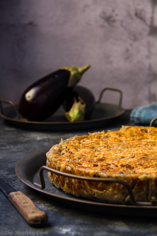 Νόστιμη μελιτζανόπιτα χωρίς φύλλο, με αλεύρι ζέας - A delicious Greek eggplant no-phyllo pie, with whole wheat emmer flour