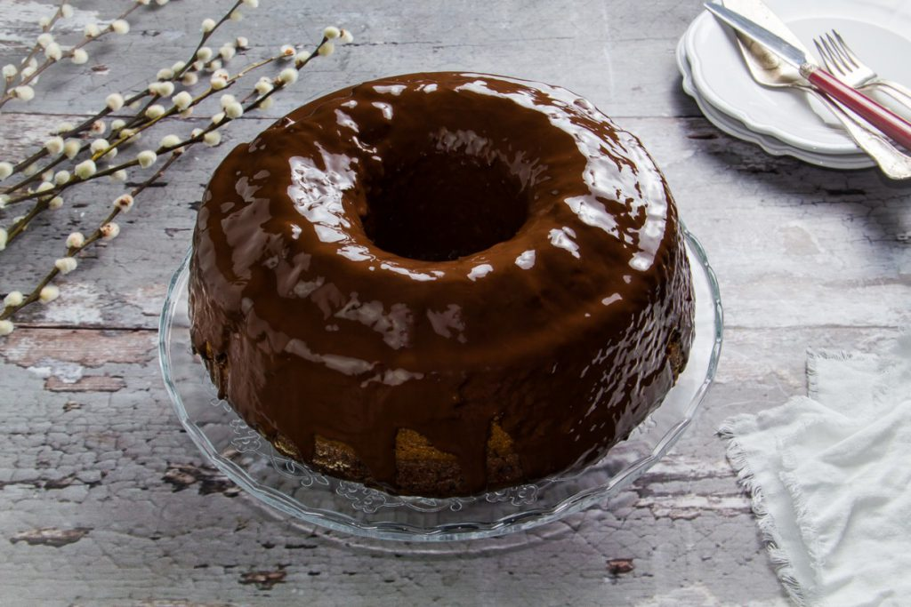 Vegan tahini cchocolate cake with walnuts, raisins