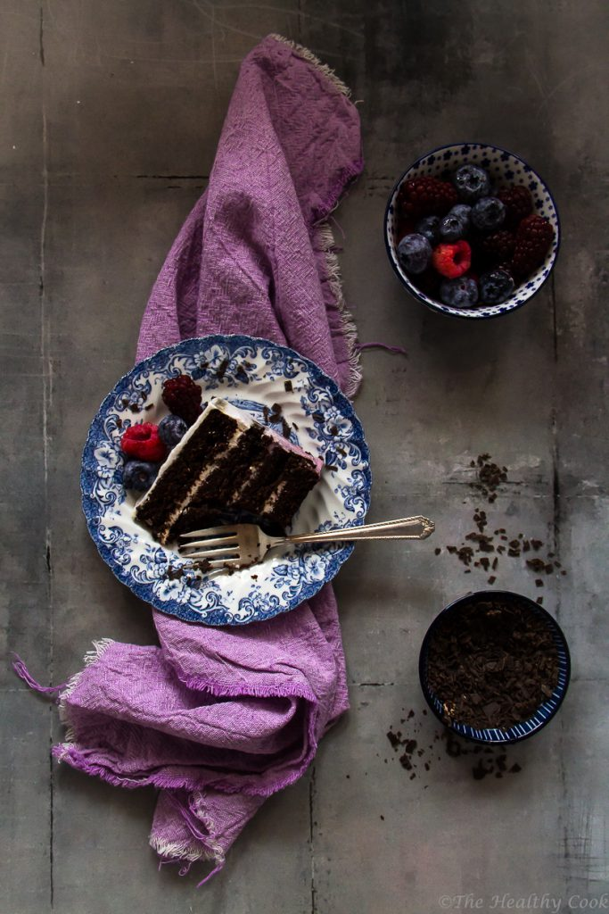 Vegan berry ombre cake with whole wheat flour